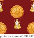 Girl sitting on Swing under Sunflower Balloon 43896787