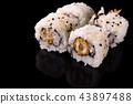 Macro shot of sushi rolls on dark backgorund 43897488