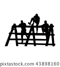 Black silhouettes of a people overcoming the obstacle. 43898160