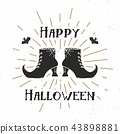 Halloween greeting card vintage label, vector 43898881