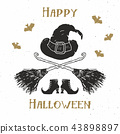 Halloween greeting card vintage label, vector 43898897