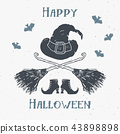 Halloween greeting card vintage label, vector 43898898