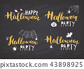 Halloween greeting cards set vector illustration. 43898925