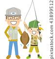 父母和孩子比目魚捕魚 43899512