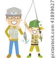 父母和孩子河釣魚 43899627