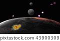 거대한 행성과 달, 그리고 UFO를 닮은 꽃이 편대 비행. 스페이스 판타지 이미지. 43900309