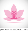 young person sitting in yoga meditation lotus position silhouette with pink lily 43901384