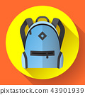 Icon of bright blue school or travel backpack 43901939
