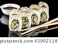 Several pieces of sushi roll california 43902118