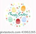 부활절 달걀과 꽃 인사말 일러스트 43902265