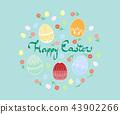 부활절 달걀과 꽃 인사말 일러스트 43902266