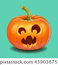 Halloween pumpkin face - funny surprised with big eyes smile Jack o lantern 43903675
