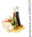 Pasta, tomatoes, basil, olive oil, vinegar, garlic 43905257