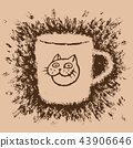 Cup of coffee with a cat sticker. Vector 43906646