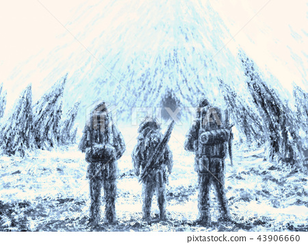 Three men stands at the entrance to the cave 43906660