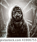 Soldier in gas mask. Infection area. 43906755