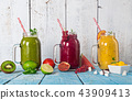 Healthy fresh smoothies with ingredients. 43909413