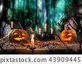 Halloween pumpkins on wooden planks. 43909445