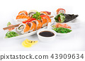 Japanese sushi set on white background. 43909634