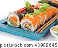 Japanese sushi set on white background. 43909645