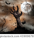 Scary Halloween background with zombie hands. 43909678