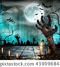 Scary Halloween background with zombie hands. 43909684