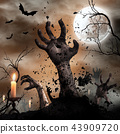 Scary Halloween background with zombie hands. 43909720