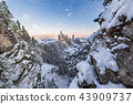 Neuschwanstein Castle during sunrise in winter landscape. 43909737