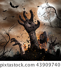 Scary Halloween background with zombie hands. 43909740