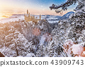 Neuschwanstein Castle during sunrise in winter landscape. 43909743