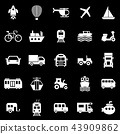Vehicle icons on black background 43909862