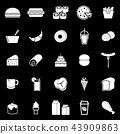 Popular food icons on black background 43909863