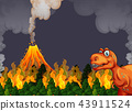 A dinosaur run away from volcano eruption 43911524