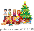 Family in front of christmas tree 43911639