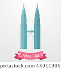 Petronas Towers icon on white background 43911905