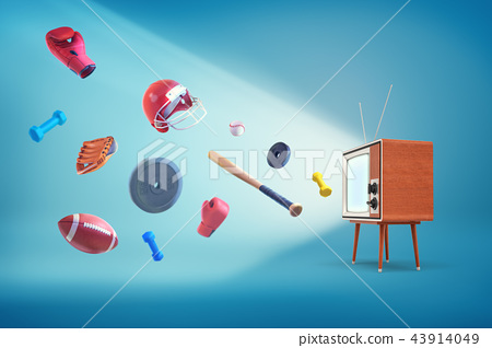 3d rendering of vintage wooden cased TV set with many sport items flying out of it - baseballs 43914049