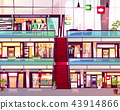 Mall shop with escalator vector illustration 43914866