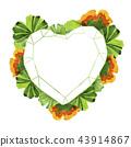 Colorful leaves ginkgo. Leaf plant botanical garden floral foliage. Frame border ornament square. 43914867