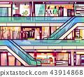 Mall shop escalator staircase vector illustration 43914868