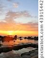 홋카이도 水無 해변 온천과 새벽의 태양 43915442