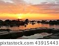 홋카이도 水無 해변 온천과 새벽의 태양 43915443