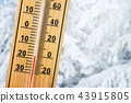 Detail of thermometer showing freezing 20 degrees 43915805
