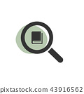Magnifying glass looking for a book web icon 43916562