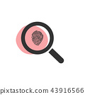 Magnifying glass looking for a fingerprint icon 43916566