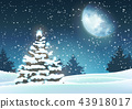 Christmas tree in snowy landscape with big moon 43918017