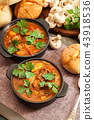 Stew soup with meat, potatoes and mushrooms 43918536