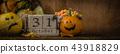 Halloween concept - pumpkins and symbols 43918829