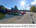 Matsumoto castle with a red bridge in sunny day 43919902