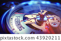 E-Learning - Inscription on Vintage Pocket Clock. 3D. 43920211
