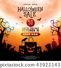 Halloween Sale illustration with scary faced shopping bag, crow, bats and cemetery on orange 43922143